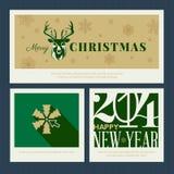Insieme di templa della cartolina d'auguri del nuovo anno e di Natale Fotografie Stock
