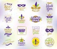 Insieme di tipografia di Mardi Gras illustrazione di stock