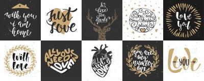 Insieme di tipografia unica disegnata a mano di amore e romantica di vettore Fotografie Stock Libere da Diritti