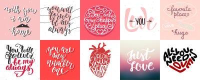 Insieme di tipografia unica disegnata a mano di amore e romantica di vettore Fotografia Stock
