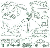 Insieme di trasporto e di turismo Fotografia Stock Libera da Diritti