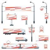 Insieme di trasporto ed all'aperto di pubblicità illustrazione vettoriale