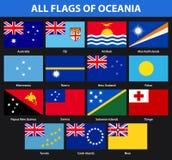 Insieme di tutte le bandiere dei paesi di Oceania Stile piano illustrazione vettoriale