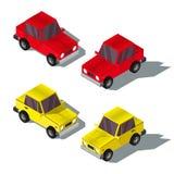 Insieme di un'illustrazione isometrica delle automobili Fotografie Stock Libere da Diritti