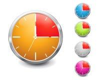Insieme di un temporizzatore lucido multicolore di 15 minuti. Immagine Stock