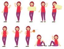 Insieme di una donna con moro nel rosso in abbigliamento casual nelle pose differenti Fotografia Stock