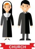 Insieme di una gente, di un sacerdote e di una suora religiosi Fotografia Stock Libera da Diritti