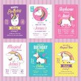 Insieme di Unicorn Birthday Invitation Cards Illustrazione di Stock