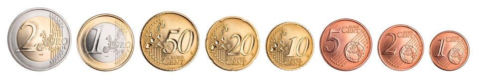 Insieme di valuta della moneta del centesimo e dell'euro immagini stock libere da diritti