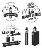 Insieme di vape, logo della e-sigaretta Immagine Stock Libera da Diritti