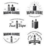 Insieme di vape, logo della e-sigaretta Fotografia Stock Libera da Diritti