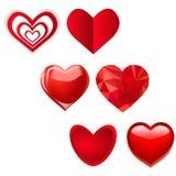 Insieme di vari cuori Illustrazione di vettore di amore Carte del biglietto di S. Valentino Illustrazione di Stock