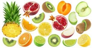 Insieme di vari frutti del taglio isolato su fondo bianco Immagine Stock Libera da Diritti