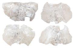 Insieme di vari minerali del danburite isolati Fotografia Stock