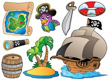 Insieme di vari oggetti del pirata Fotografia Stock