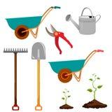 Insieme di vari oggetti di giardinaggio Strumenti di giardino Fotografia Stock Libera da Diritti