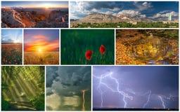 Insieme di vari paesaggi Fotografia Stock