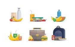 Insieme di vari pasti del pranzo illustrazione vettoriale