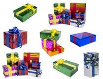 Insieme di vari regali isolati su fondo bianco Fotografia Stock