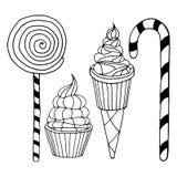 Insieme di vari scarabocchi, dei dolci semplici ruvidi disegnati a mano e degli schizzi delle caramelle Immagine Stock