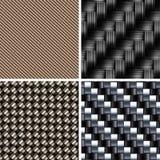 Insieme di vari tipi di strutture della fibra del carbonio Fotografie Stock Libere da Diritti