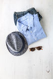 Insieme di vari vestiti ed accessori per gli uomini Fotografia Stock Libera da Diritti