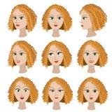 Insieme di variazione delle emozioni della stessa ragazza con capelli rossi Fotografia Stock