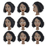 Insieme di variazione delle emozioni della stessa ragazza nera Immagini Stock