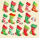 Insieme di varie calze di Natale. Elementi per natale e nuovo Y Immagini Stock