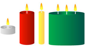 Insieme di varie candele Fotografia Stock