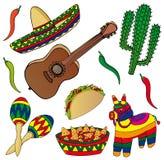 Insieme di varie immagini messicane Illustrazione di Stock