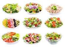 Insieme di varie insalate Immagine Stock Libera da Diritti