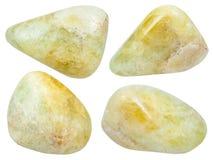 Insieme di varie pietre preziose lucidate del datolite Fotografie Stock Libere da Diritti