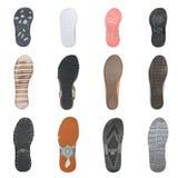 Insieme di varie suole di scarpa Immagine Stock Libera da Diritti