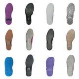 Insieme di varie suole di scarpa Fotografia Stock