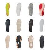 Insieme di varie suole di scarpa Immagini Stock Libere da Diritti