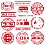 Insieme di vario fatto nei grafici rossi della Cina e Fotografia Stock Libera da Diritti