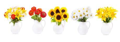 Insieme di vario mazzo dei fiori in un barattolo fotografia stock