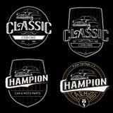 Insieme di vecchi emblemi classici di tipografia dell'automobile Immagine Stock