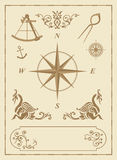 Insieme di vecchi simboli nautici Fotografie Stock