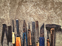 Insieme di vecchi strumenti sporchi nello stile d'annata Immagini Stock