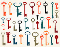 Insieme di vecchie chiavi Fotografie Stock