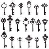 Insieme di vecchie chiavi con gli elementi decorativi nel retro stile Fotografia Stock Libera da Diritti