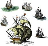 Insieme di vecchie navi di navigazione Fotografia Stock Libera da Diritti