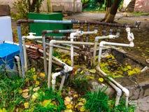 Insieme di vecchie tubature dell'acqua Immagini Stock
