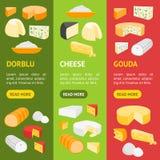 Insieme di Vecrtical dell'insegna della latteria del prodotto del formaggio Vettore illustrazione di stock