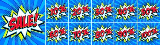Insieme di vendita di Big Blue Iscrizione di vendita e tutti i numeri delle percentuali Colori blu e rossi Insegne di web di stil Immagini Stock