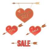 Insieme di vendita dei biglietti di S. Valentino fotografia stock libera da diritti