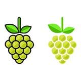 Insieme di verde dell'uva del fumetto Fotografia Stock