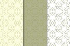 Insieme di verde verde oliva degli ornamenti floreali Reticoli senza giunte Fotografia Stock Libera da Diritti